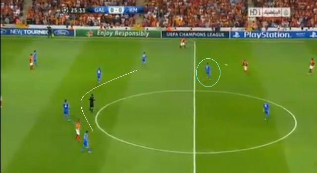 Ronaldo (kékkel) Benzema mellett, a támadósorban grasszált, a középpályások ezért mélyre ásták be magukat