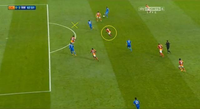 Kb. az x-el jelölt helyen kellett volna lennie Nounkeunak, aki helyén megszerezte a Real a harmadik, mindent eldöntő gólt