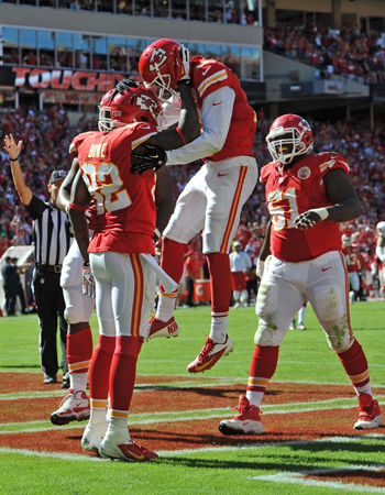 Talán még a Chiefs-szurkolók se gondolták volna, hogy ennyiszer láthatják kedvenceiket ünnepelni / AFP