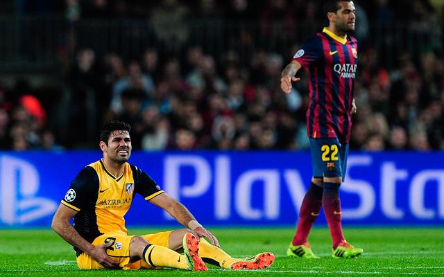 Diego Costa jobb combjában sérült meg az izom - Fotó: AFP