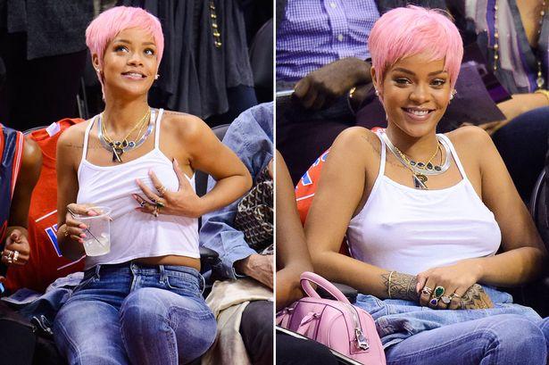 Rihanna a meccs helyett magát nézte a kivetítőn - fotó: Noel Vasquez/GC Images