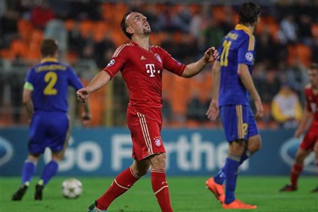 Franck Ribéry sem nagyon hitte el, de a későbbi BL-győztes kikapott Fehéroroszországban - Fotó: ibnlive.in.com