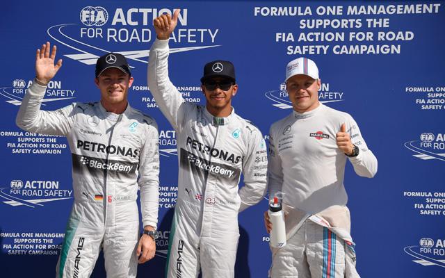 Rosberg, Hamilton és Bottas került az első háromba - fotó: AFP