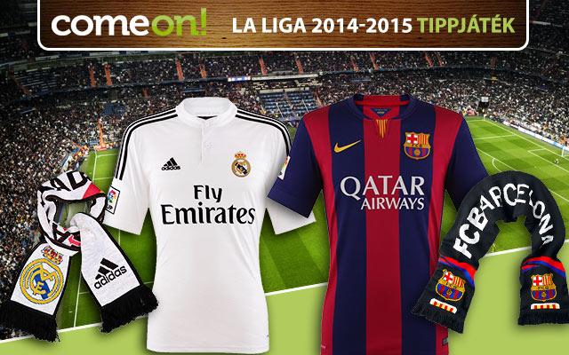 Tippelj a spanyol bajnokságra és nyerj Real- vagy Barca-mezt!