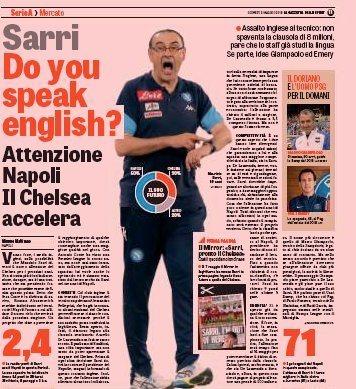 Sarri, beszélsz angolul? fotó: Gazzetta dello Sport