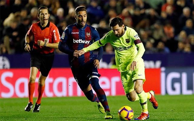 Messi decemberben nem kegyelmezett a Levanténak. fotó: Barcelona Official