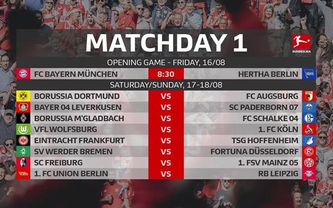 Az első kör párosításai. fotó: Bundesliga Official