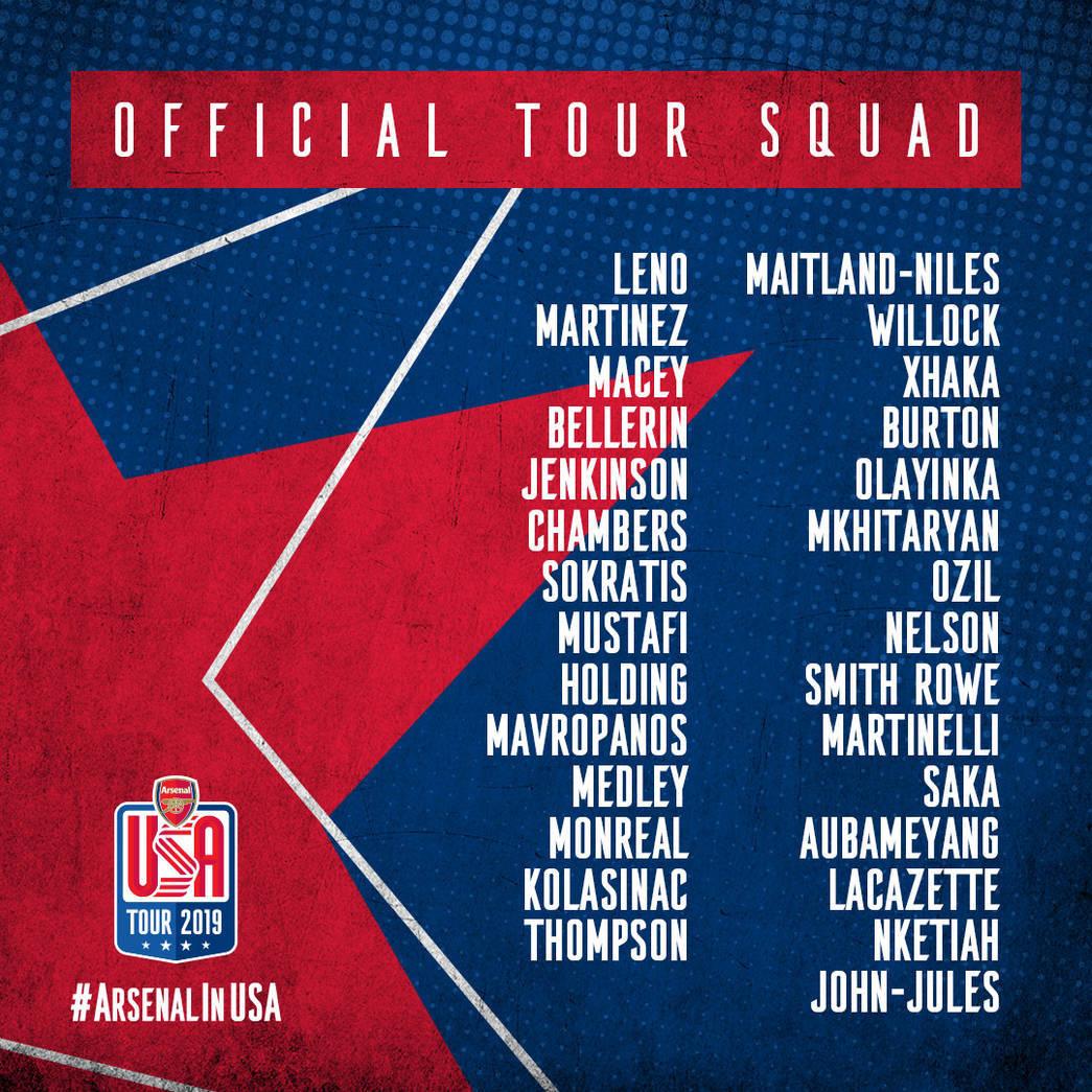 Az Arsenal utazó kerete az USA-ba