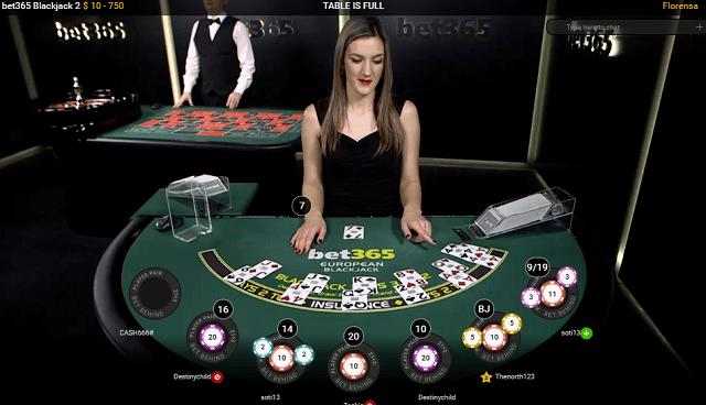 A bet365 élő black jack asztala