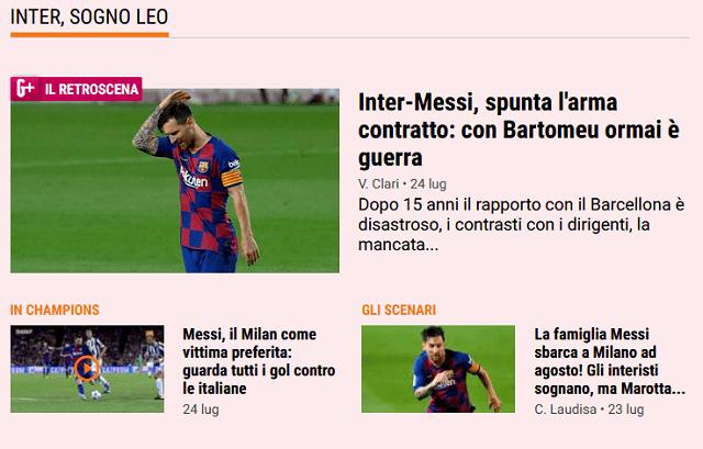 A legnagyobb olasz sportlap, a Gazetta dello Sport internetes felülete is kiemelten foglalkozik Messivel