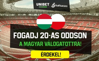 Fogadj 20-as oddson a magyar-lengyel kimenetelére!