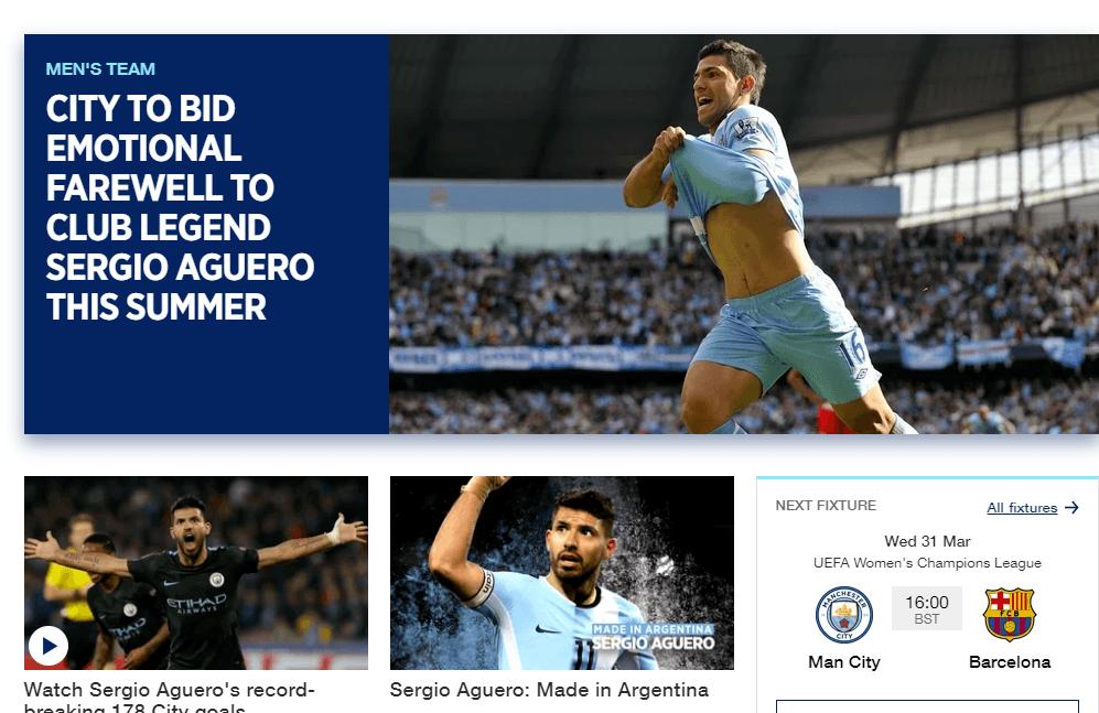 A City honlapja nagy figyelmet szentel Agüero búcsújának // Fotó: mancity.com