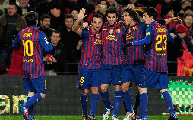 Az FC Barcelona játékosai ünneplik góljukat