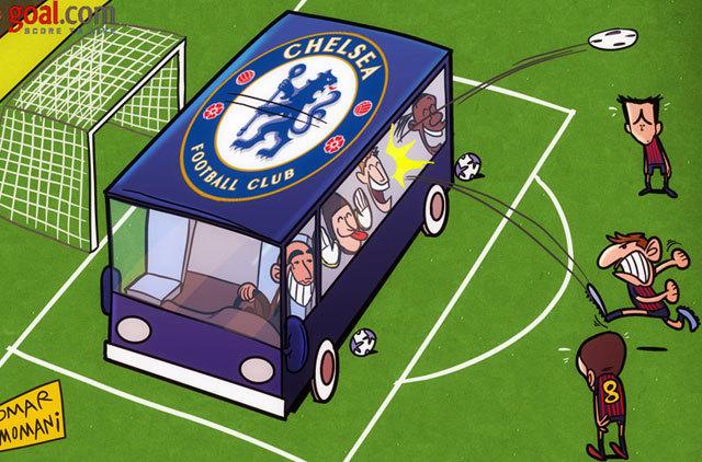 A Chelsea nem volt szívbajos, a visszavágón is leparkolta a buszt a kapuja elé - kép: goal.com